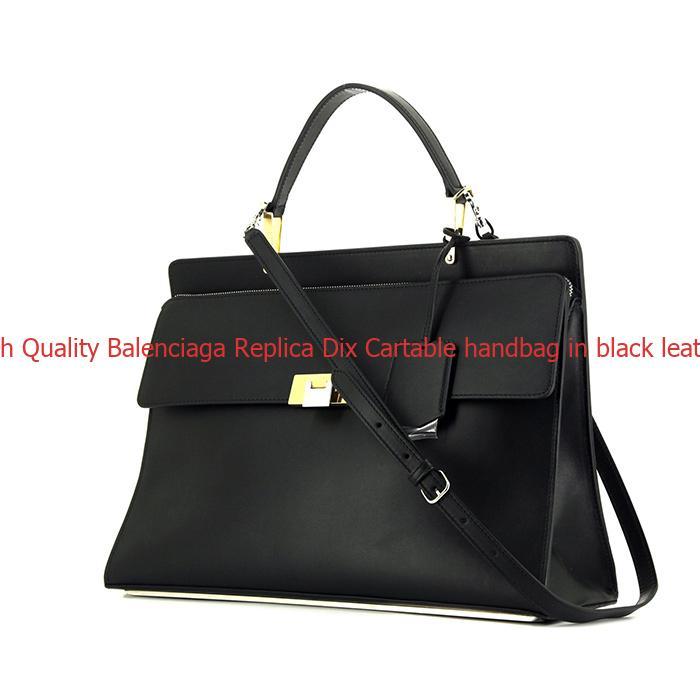 High Quality Balenciaga Replica Dix Cartable handbag in black leather dec9e32c21c16