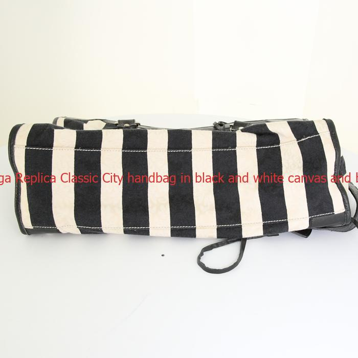 f0ed71e69b06 UK Balenciaga Replica Classic City handbag in black and white canvas and  black leather