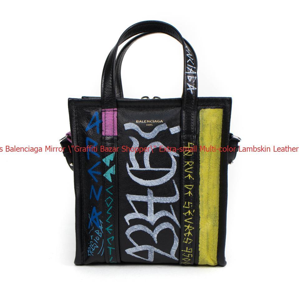 """d449bff0c6 Cheap Designer Handbags Balenciaga Mirror  """"Graffiti Bazar Shopper """" Extra- small ..."""