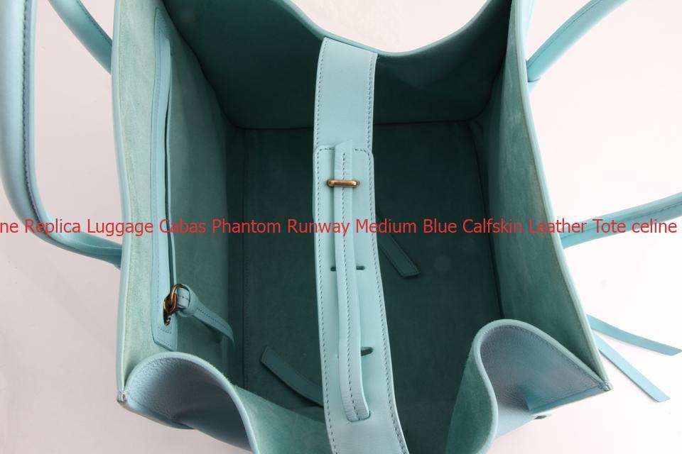 High Quality Céline Replica Luggage Cabas Phantom Runway Medium Blue Calfskin Leather Tote Celine Bag Price