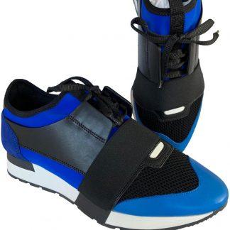 7f96a98ecb0 The factory direct Balenciaga Fake Blue Runner Mixed Media Black Lace Up  Sneakers Sneakers balenciaga replica bag ...