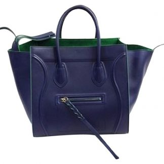 a78c820c3c51 Wholesale Handbags Céline Fake Luggage Cabas Phantom Bicolor  6122 Navy    Green Smooth Calfskin Medium Tote Satchel celine trio bag ...